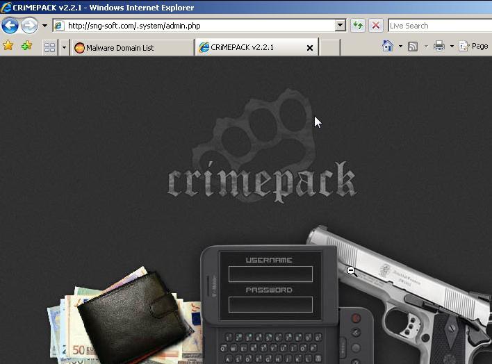 pantalla de acceso crimepack